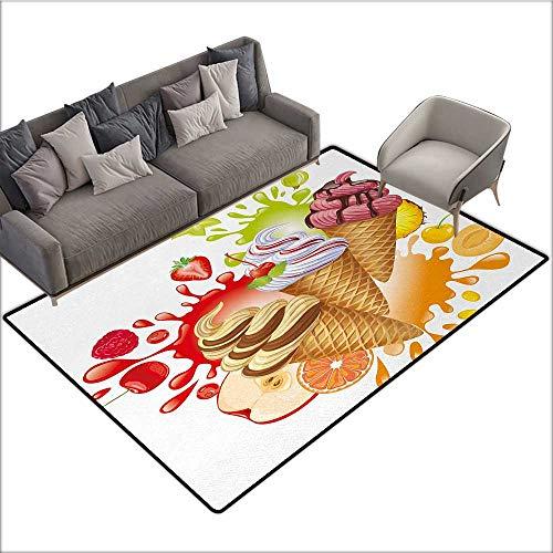 Ice Cream Home Custom Floor mat Various Flavors Tasty Summer Dessert with Peach Apricot Strawberry Sorbet Print 78