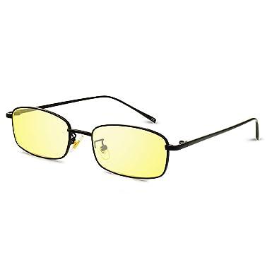 AMZTM Gafas de Sol Rectangulares - Gafas unisex con marco de metal vintage