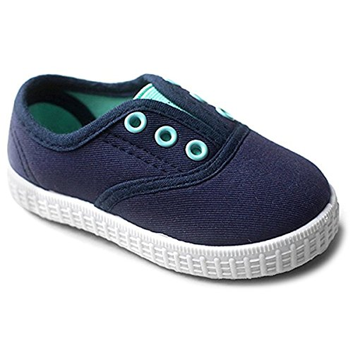 Save Beautiful Candy Colors Kids Toddler Canvas Sneaker Boys Girls Casual Slip-on Shoes (8 M US Toddler, A-Navy Blue)