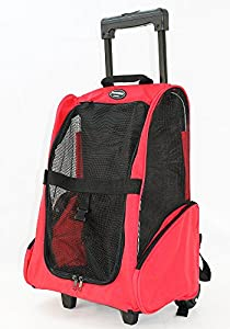 Red Color Pet Carrier Dog Cat Rolling Backpack Travel Airline Approved Wheel Luggage Bag