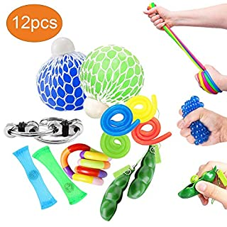 OKSANO Fidget Toys 12Pcs, Fidget Toys for Adults and Fidget Toys for Sensory Kids Autism Fiddle Toys for ADHD, Squeeze Mesh Balls, Flippy Chain, Stretchy Strings, Soybean Stress Toys, Twisting Toys