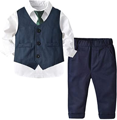 KIDsstz - Conjunto de ropa para bebé, camisa blanca, traje para niños, traje de otoño, camisa blanca, azul, traje de cuatro piezas Dreiteiliger Anzug 100 cm: Amazon.es: Ropa y accesorios