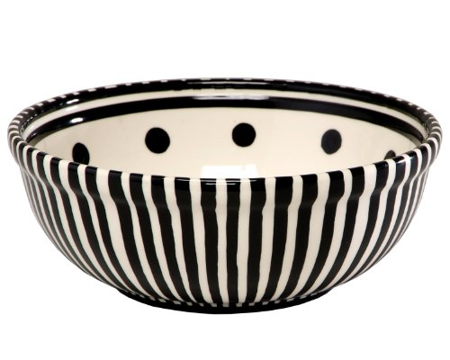 Caffco International M. Bagwell Collection Ceramic Soup/Cereal Bowls, Black and White Pattern, Set of 4