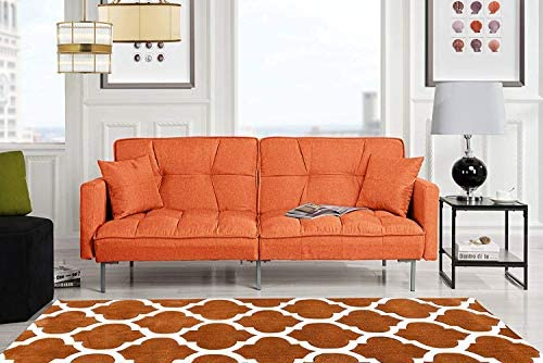 Orange Sleeper Futon Sofa Bed Couch, Convertible Orange Futon Recliner Sofa to Bed Feature , Modern Plush Tufted Linen Fabric Splitback Lounger, Reclining Futon Sofa Beds for Living Small Space Room