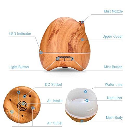 JIAYUE LY-015 300ml Ultrasonic Mute Humidifier Aromatherapy Diffuser LED Color Night Light No Water Auto Power Off Wood Grain Peach Heart Shape , Light wood grain by JIAYUE (Image #4)