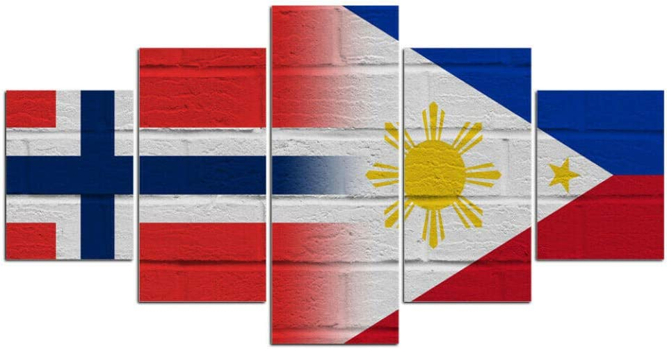 Canvas Wall Art Picture Prints on Canvas Norwegian Norway Filipino Philippines Flag 5 Piece Artwork Stretched Framed Ready to Hang Canvas Art for Home Decoration Sincin-100200 cm