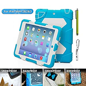 IPad Mini Case, IPad Mini 2 Case, IPad Mini 3 Case, Aceguarder Rugged Shockproof Kids Proof Protective Case Cover with Stand and Screen Protector For IPad Mini / Mini 2 / Mini 3 (Light Blue White)