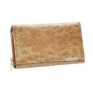 Elegante cartera charolada con monedero 100 % cuero natural para dama, marca JENNIFER JONES (dorada): Amazon.es: Equipaje