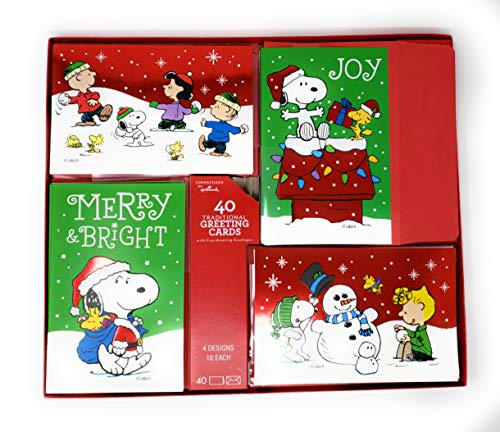 Charlie Brown And Peanuts Gang Holiday Christmas Boxed 40 Cards With Coordinating Envelopes -