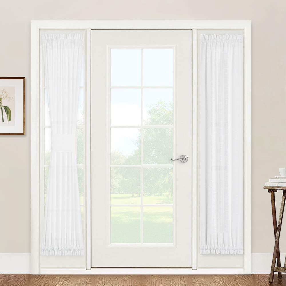 Amazon Com Window Treatments For French Doors Linen Texture Semi Sheer Privacy Sidelight Panels Glass Door Curtains For Entry Door Front Door Foyer Window Blinds 2 Free Ropes 2 Panels 30 X