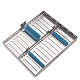 Annhua Dental Surgical Sterilization Cassette Tray Racks with Lock Blue for 5 Instruments
