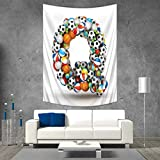 Anhuthree Letter Q Tapestry Table Cover Bedspread Beach Towel Typographic Letter Font Design with Various Gaming Balls Athletic Kids Teamplay Dorm Decor 54W x 72L INCH Multicolor