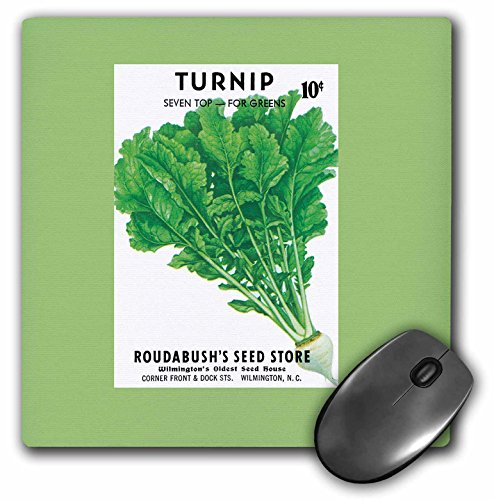 (3dRose BLN Vintage Seed Packet Reproductions - Turnip Seven Top for Greens Vegetable Seed Packet Reproduction - MousePad (mp_170950_1))