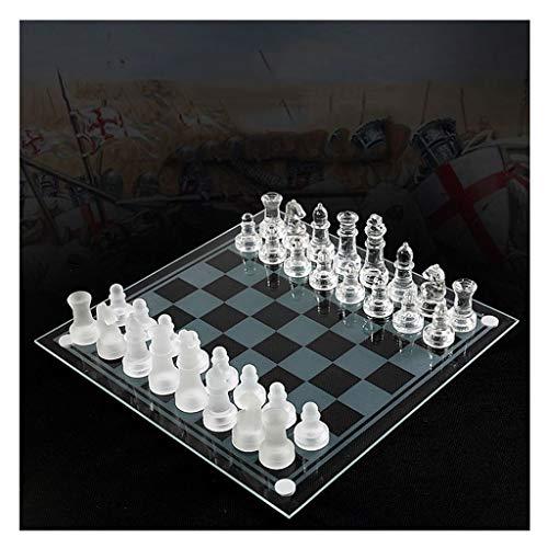 Bzsm Viajes Nueva Tablero de ajedrez Juego de ajedrez de Cristal K9 Conjunto Medium Pack Juego de ajedrez Juego de…