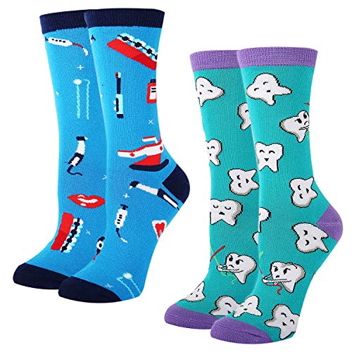 Women's Novelty Crazy Dental Crew Socks Funny Happy Teeth Tool Patterned Socks, Dental Gift ()