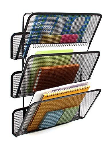 EasyPAG 3 Tier Assembly Mesh Wall File Pocket Hanging File Organizer Holder ,Black