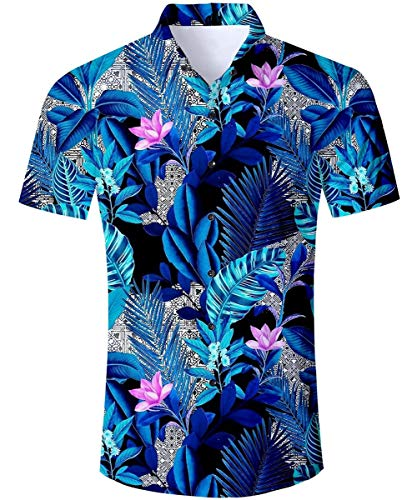 (ALISISTER Mens Hawaiian Shirts Vacation Aloha Blouse Luau Shirt 3D Flower Button Dress Short Sleeve Sun Beach Blue Apparel Summer XXL)