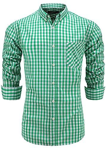 Emiqude Men's 100% Cotton Regular Fit Long Sleeve Button Down Plaid Dress Shirt Medium Green - Green Dress Gingham