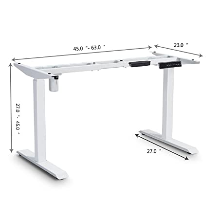 Tangkula Electric Standing Desk Frame, Single Motor Adjustable Height Width Standing Desk Ergonomic Motorized Sit to Stand Desk with Memory Preset Handset Controller, Motorized Table White