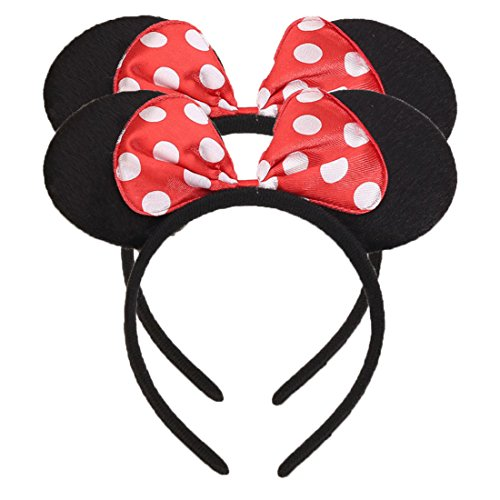 Set of 2 Mickey Minnie Mouse Ears Headband Boys and Girls Birthday Party Mom Hairs Accessories Baby Shower Headwear Halloween Party Decorations Costume Deluxe Fabric Ears with Dots Bow (Red) -