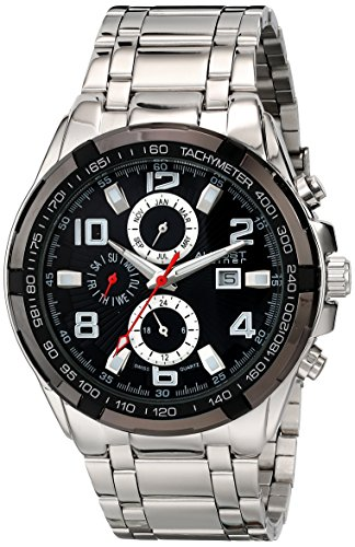 Black Dial Silver Bracelet (August Steiner Men's AS8127SSB Silver & Black Multifunction Swiss Quartz Watch with Black Dial and Silver Bracelet)