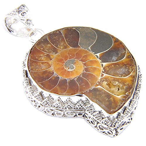 Ammonite Fossil Sterling Silver Pendant (Luckyshine Special Natural Ammonite Fossil Gems Antique Silver Pendants for Necklaces)