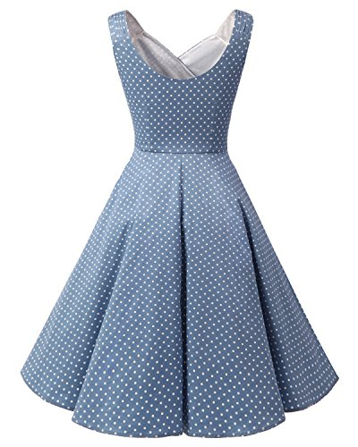 Blue Vestitos Retro Swing Bridesmay Vintage Dot Abiti Snni Donna Light '50 Small White Partito N8ynwvmOP0