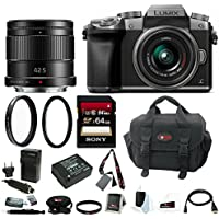 Panasonic Lumix G7 Mirrorless Digital Camera w/ 42mm & 42.5mm f/1.7 Lenses & 64GB SD Card Bundle (Silver)