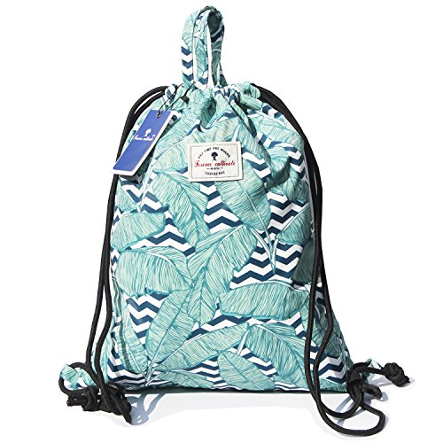 15.4 Professional Backpack - Drawstring Backpack Original Floral Leaf Lightweight Waterproof Tote Bags Sackpack for Shopping Yoga Gym Hiking Swimming Travel Beach