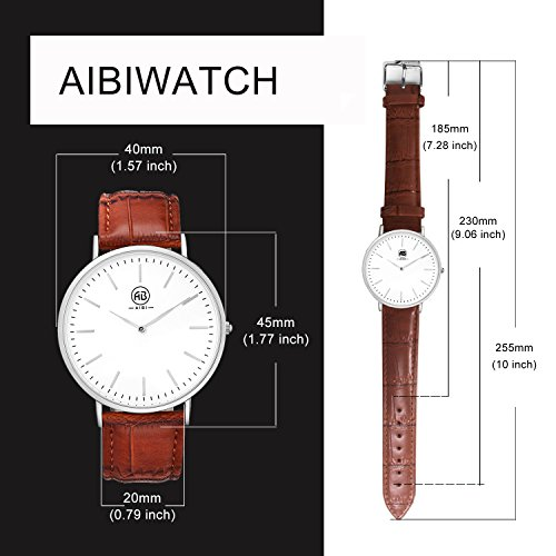 AIBI Slim and Big face Watches with Brown Bands for Men and Women Clearance Light Brown Leather Strap Easy to Read 3ATM Waterproof with Egg White Face