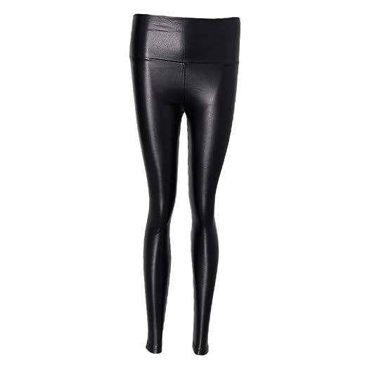 69f1afb546f6e MonkeyJack Womens Girls High Waist Leggings Stretchy Faux Leather Trousers  Slim Pencil Pants - Black,
