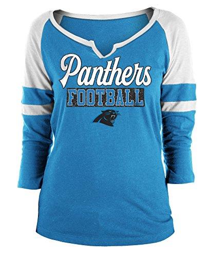 - New Era Carolina Panthers Ladies Slub Jersey 3/4 Sleeve Raglan Split Scoop T-Shirt Large