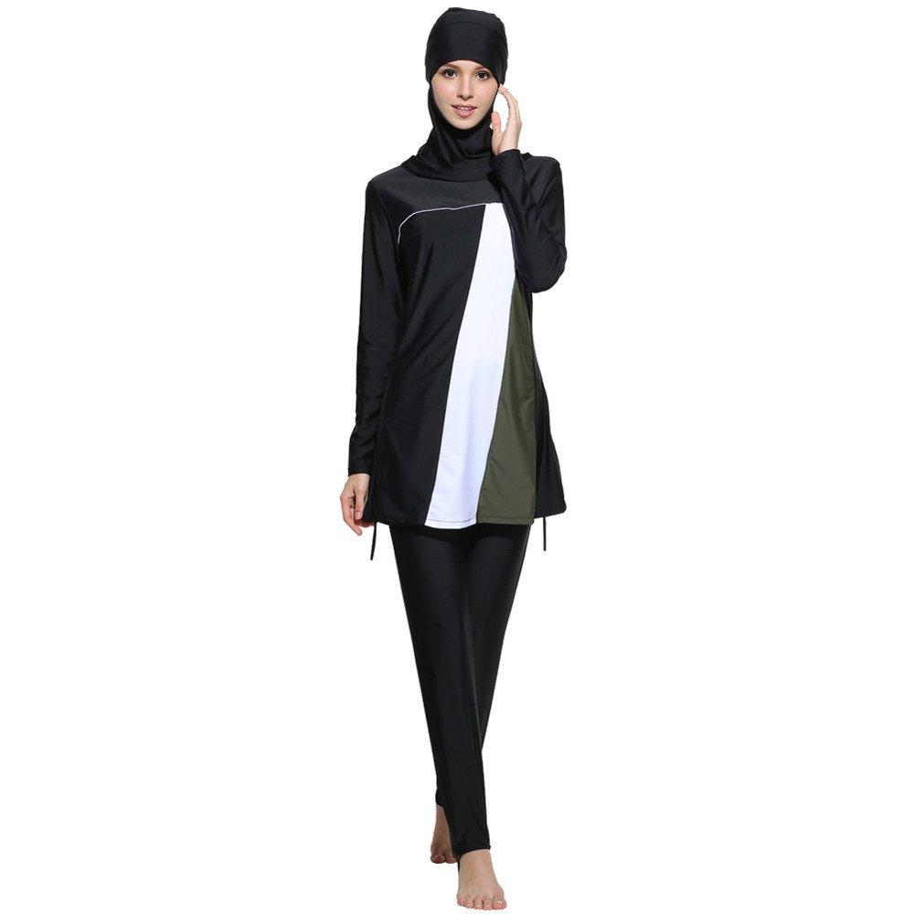 f0fcc8023a Amazon.com  Muslim Women Modest Swimwear Islamic Short Sleeve Top+Pants  Swimwear Swimsuit 1  Clothing