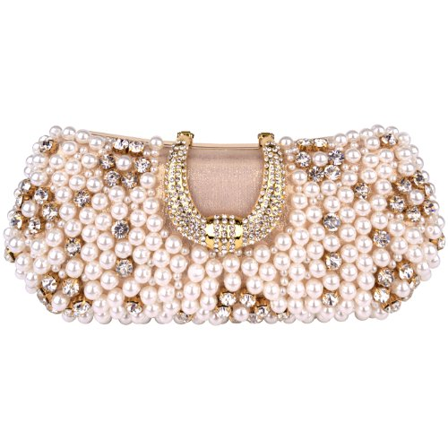 MG Collection Gold Pearl Beads Rhinestone Encrusted Clutch Evening Hand Bag, Bags Central