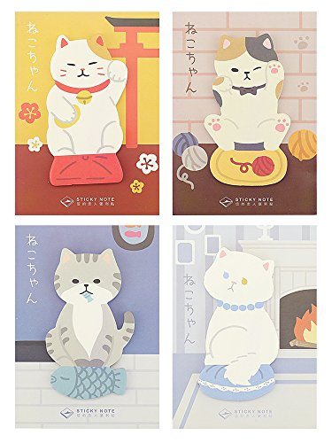 Self-Stick Notes, Scratch Pads, 4 Pads/Pack, 30 Sheets/Pad (Lucky Cat)