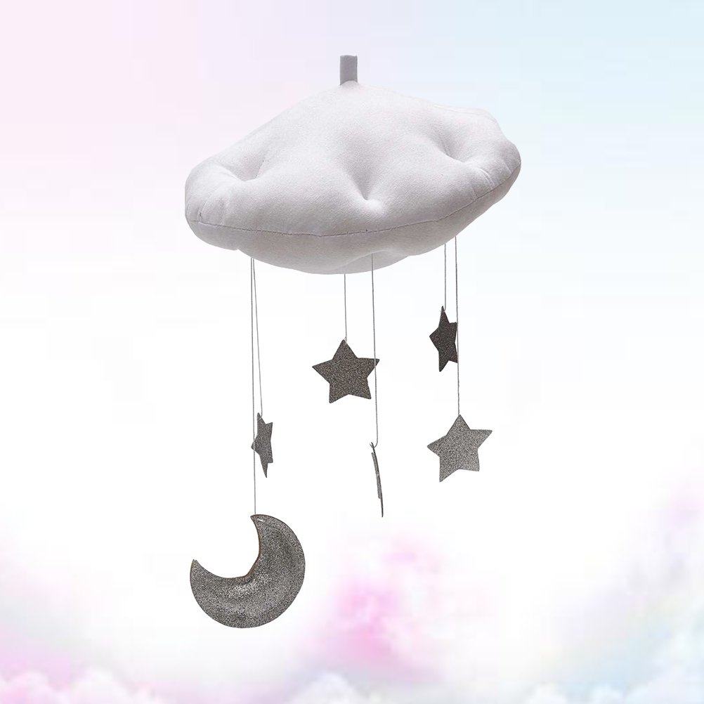 Yeahibaby Baby Mobile Bett Mobile Weisse Wolken Silber Mond Sterne