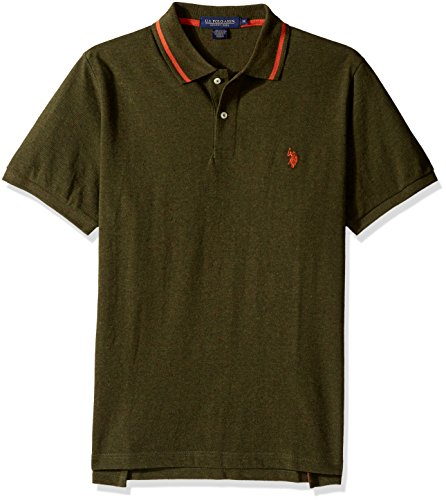 U.S. Polo Assn. Men's Classic Fit Solid Short Sleeve Pique Polo Shirt, 8459-Army Heather, M