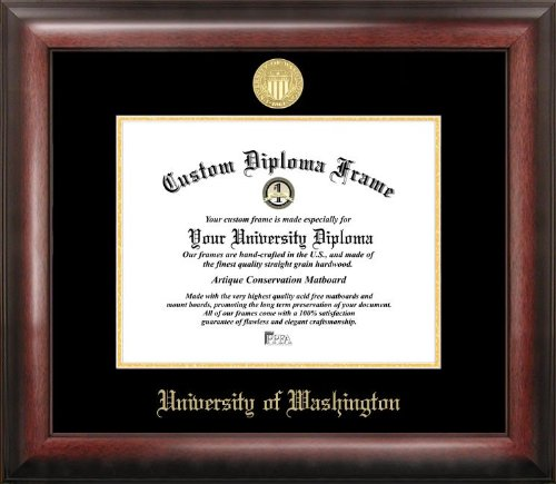 "Campus Images WA995GED University of Washington Embossed Diploma Frame, 8.5"" x 11"", Gold from Campus Images"