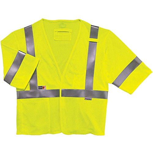 Class Iii Safety Vest - Ergodyne GloWear 8356FRHL ANSI Class 3 Fire Resistant Modacrylic Safety Vest with Sleeves, Lime, 2XL/3XL