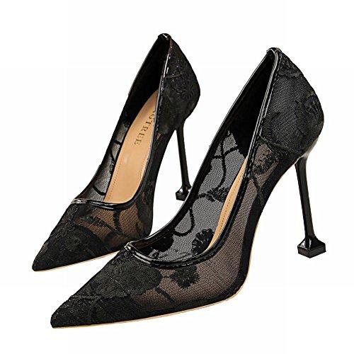 Mee Shoes Damen Stiletto Blumen Mesh Pumps Schwarz