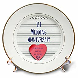 3dRose cp_154428_1 1St Wedding Anniversary Gift Paper Celebrating 1 Year Together First Anniversaries One Yr Porcelain Plate, 8-Inch