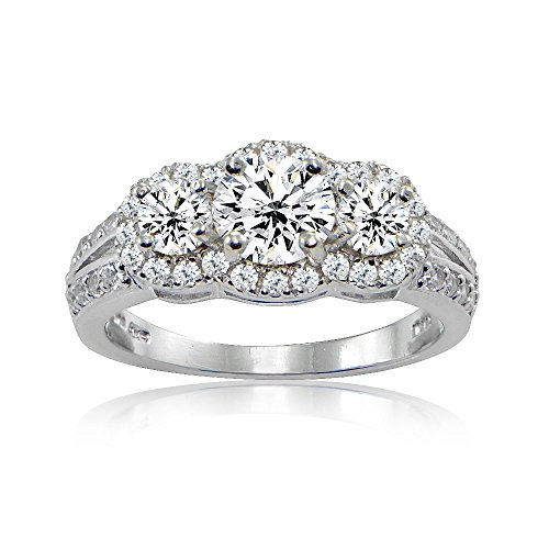 Sterling Silver Three Stone Cubic Zirconia Halo Engagement Ring, 6