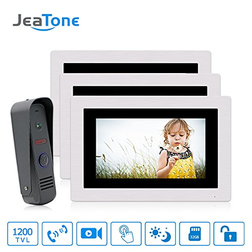 "JeaTone 7"" Ring Video Doorbell Intercom Door Phone 3 Monitors Night Vision Camera 1V2 Wide Angle IP65 Picture/Video Recording Support Monitoring, Unlock, Dual way Door Talking -  84709-TM-84202-CP80-3"