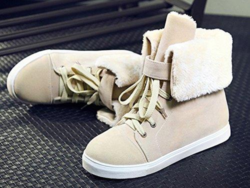 Snow Aisun Boots Lace Toe Comfy Women's Round Platform Flat Warm Booties Beige Ankle Up Shoes qrwqgvB
