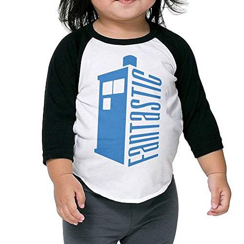Grace Little Doctor Who Fantastic Tardis Fashion Boys & Girls Toddler 100% Cotton 3/4 Sleeve Raglan Tee Unisex -