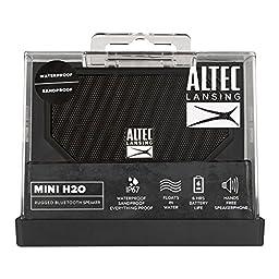 Altec Lansing IMW257-BLK Mini H2O Waterproof, Sandproof, Snowproof and Shockproof Bluetooth Speaker, Black