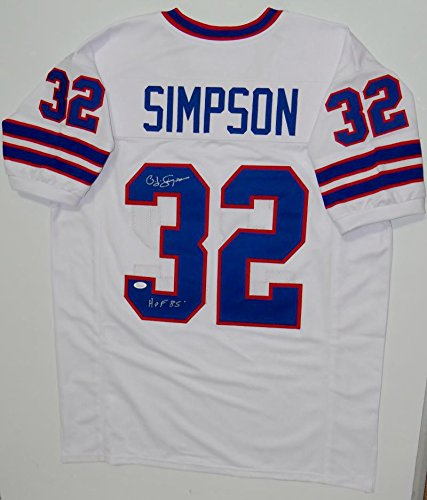 O. J. Simpson Autographed White Pro Style Jersey W/ HOF- JSA Witnessed (Autographed Authentic Style White Jersey)