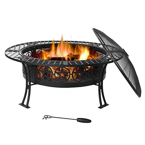 Sunnydaze 40 Inch Four Star Large Fire Pit Table with Spark Screen (Fireplace Screen Celestial)