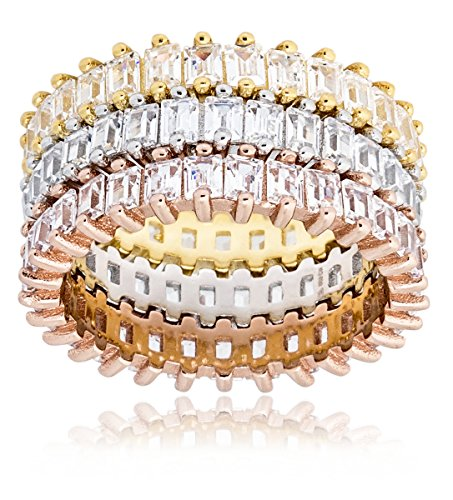 Mia Sarine Womens 3 Piece Baguette Eternity Band Ring Set in Yellow Gold, Rose Gold and Rhodium over Brass Size 7 (Ring Gold Baguette Yellow)