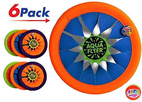 (JA-RU Flying Disk Frisbee (Pack of 6) Soft Flying Water Disc Hours of Fun | Item #1031-6 (Pack of 6 and 1 Bouncy Ball))